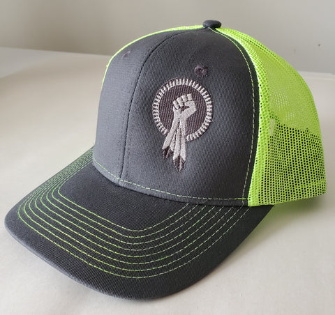 N8V MOVEMENT Snap Back Cap Neon Green with silver thread