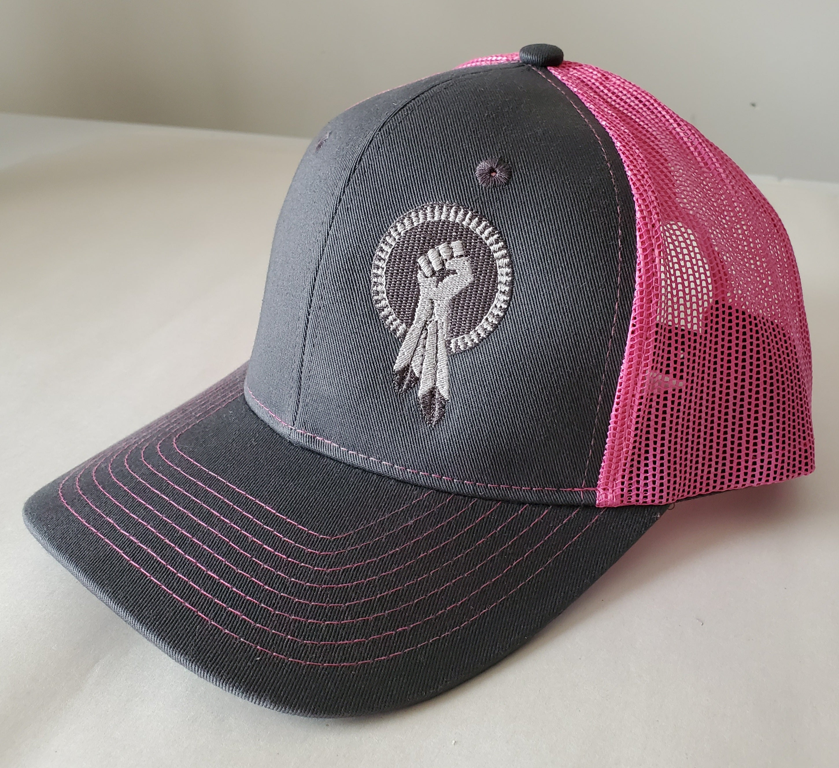N8V MOVEMENT Snap Back Pink Cap with silver thread