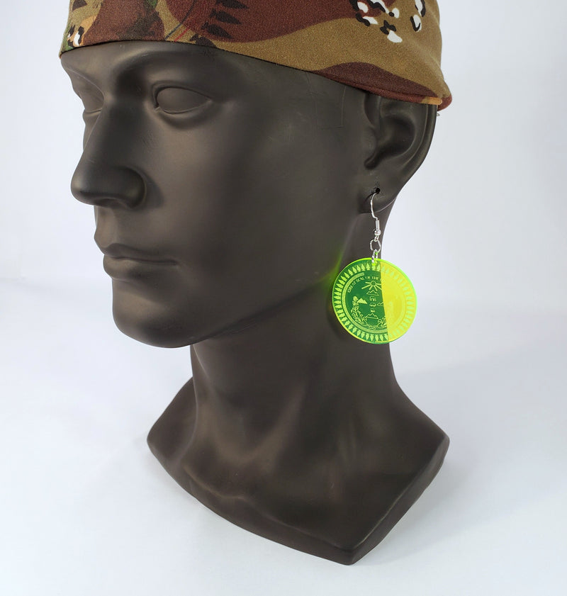 Diné Nation earrings acrylic neon green