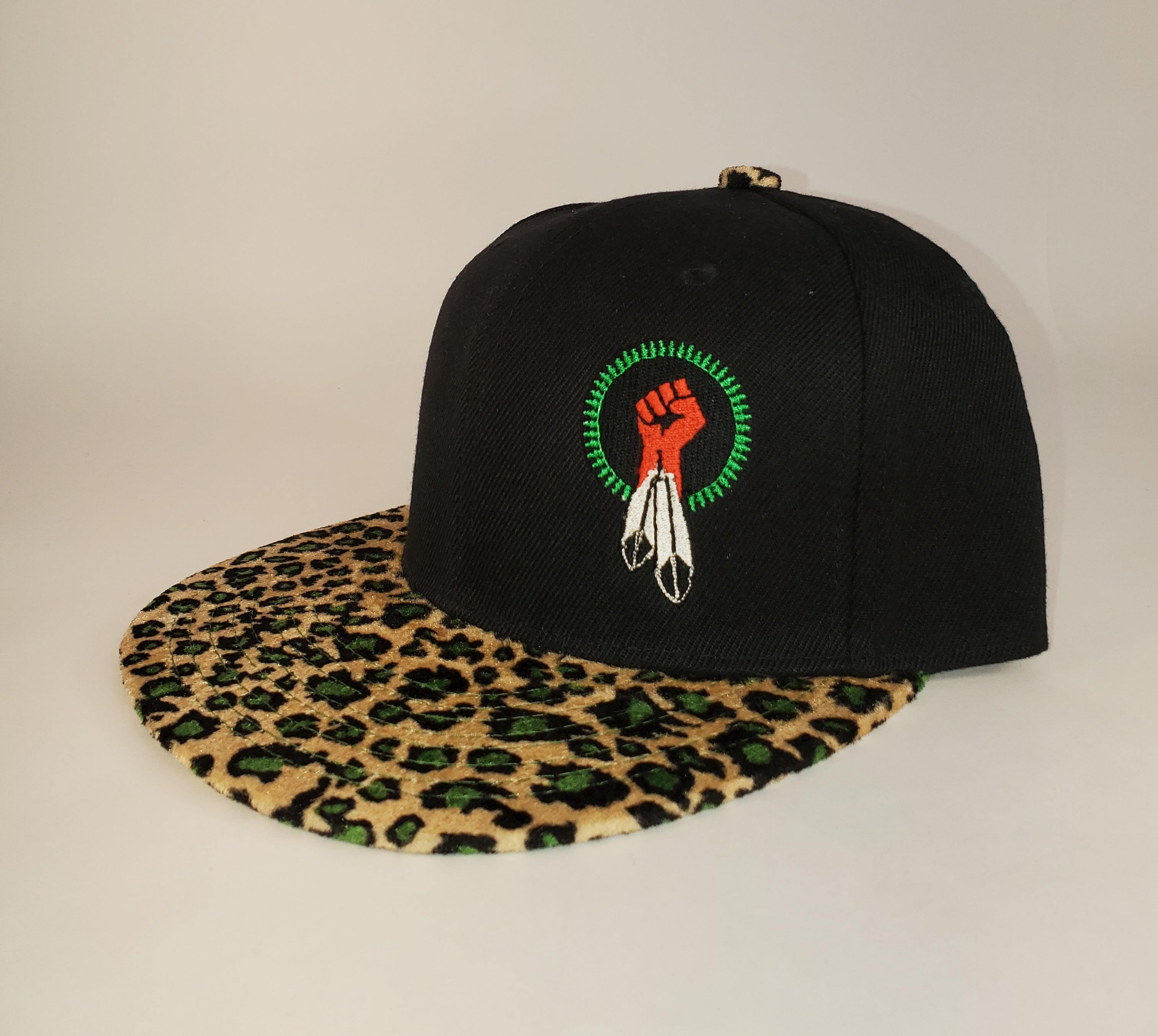 N8V MOVEMENT cap embroidered black leopard snapback