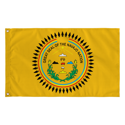 "Diné/Navajo Nation Seal Gold Flag 36"" by 60"""