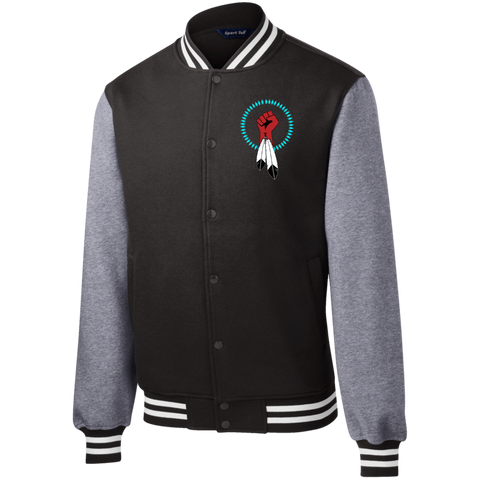 N8V MOVEMENT Men's Fleece Letterman Jacket embroidered