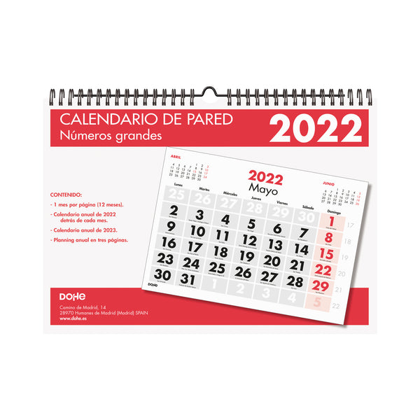 Calendario pared - A4 - Números grandes