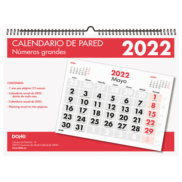 Calendario pared - A3 - Números grandes
