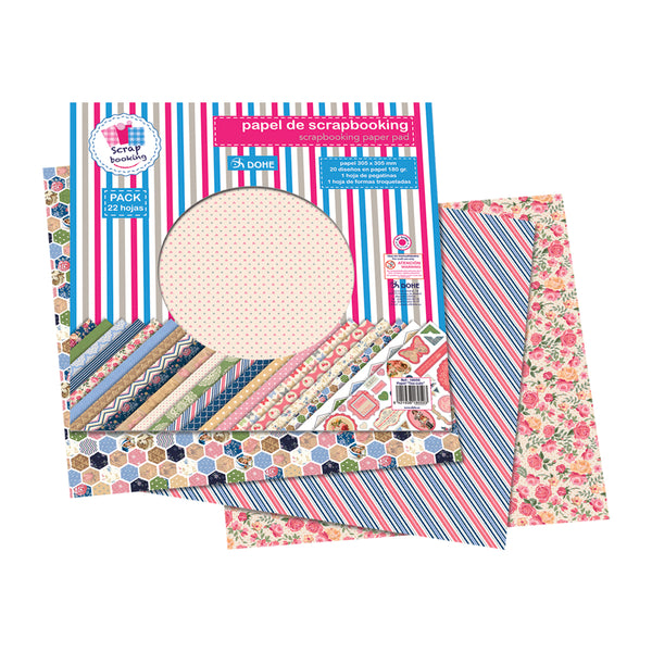 "Papel scrapbooking ""too cute"" (22 hojas)"