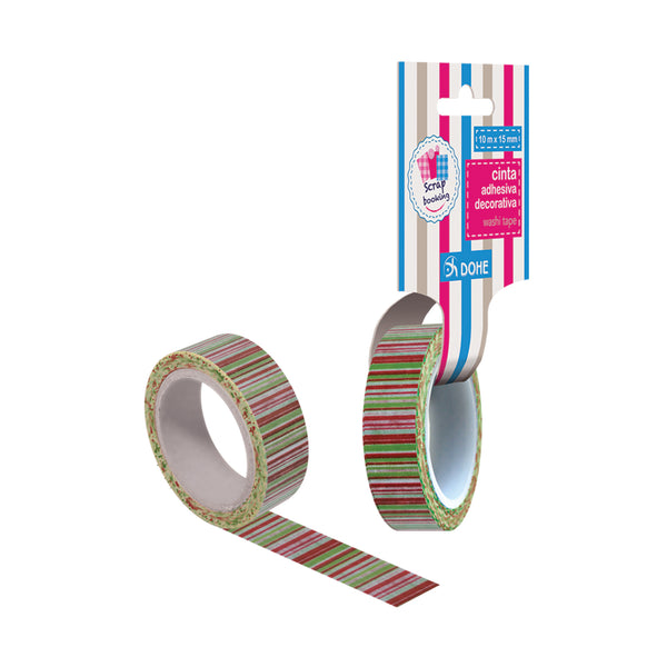 "Cinta adhesiva decorativa washi tape ""stripes"""