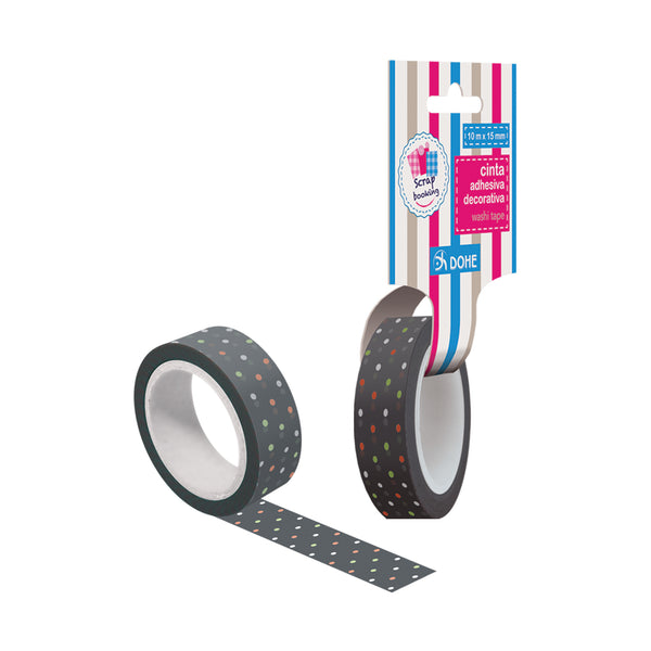 "Cinta adhesiva decorativa washi tapes ""grey"""