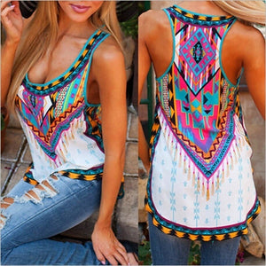 S - 5XL Women's Fashion Sleeveless Bohemian Top