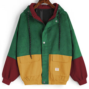 Nice Looking Corduroy Patchwork WIndbreaker Coat