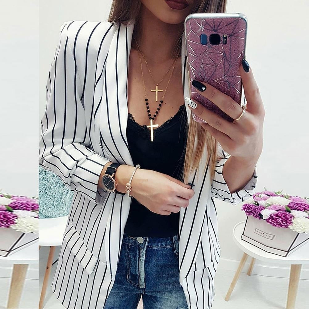 Womens Autumn Classic/Casual Striped Blazer