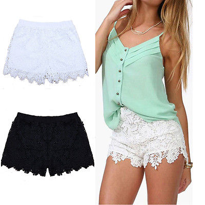 Women's Floral Lace Tiered Shorts