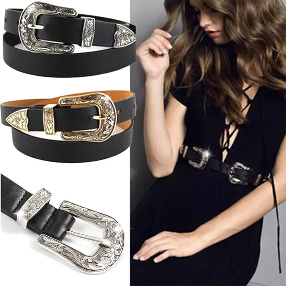 In Demand Faux Leather Designer Look Black Belt