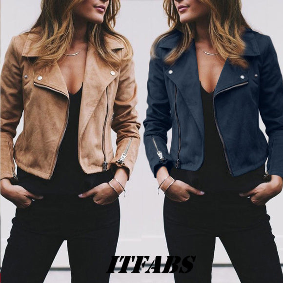 Ladies Fashion Leather Look Zipper Jacket