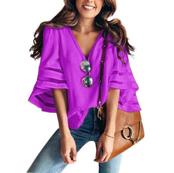 Women's Elegant Flared Sleeve Shirt