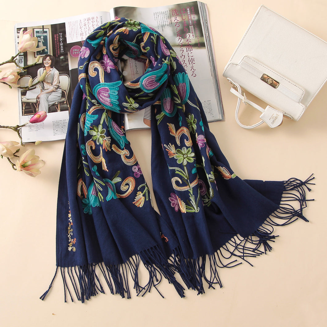 Women's Quality Embroidered Cashmere Scarf