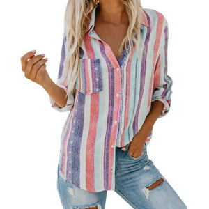 Women's Summer 'Cool' Striped Long Sleeve Blouse