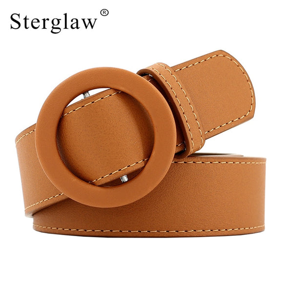 2019 Ladies New Faux Leather Round Buckle Belt