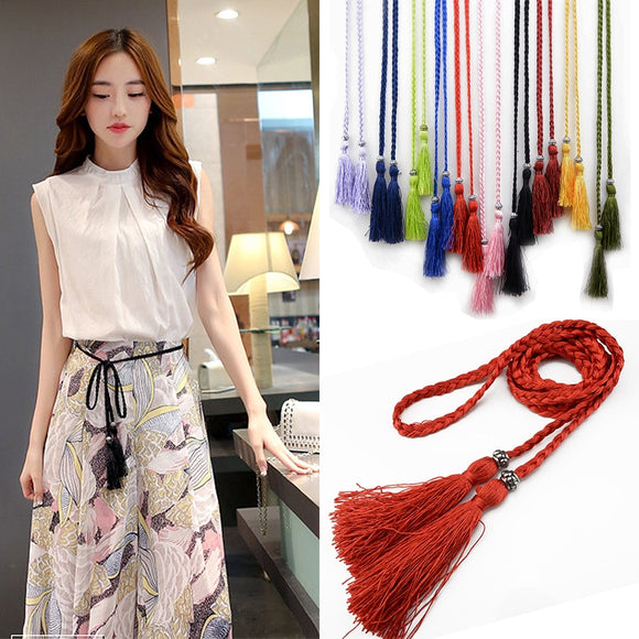 Ladies Woven Tassel Belt