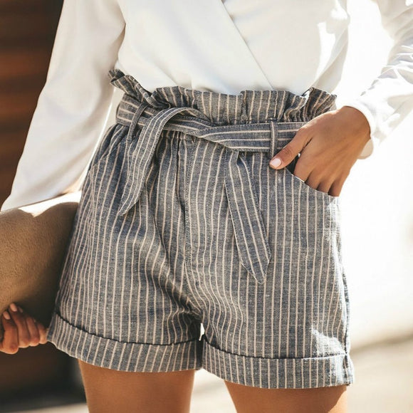 Fashion Summer High Waist Striped Shorts