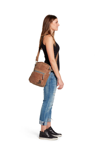 Crossbody bag - organic waxed canvas