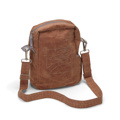 Crossbody bag - organic waxed canvas, brush brown - aTana Binghi