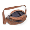 Crossbody bag - organic waxed canvas, brush brown and gray topo liner made from recycled polyester - aTana Binghi