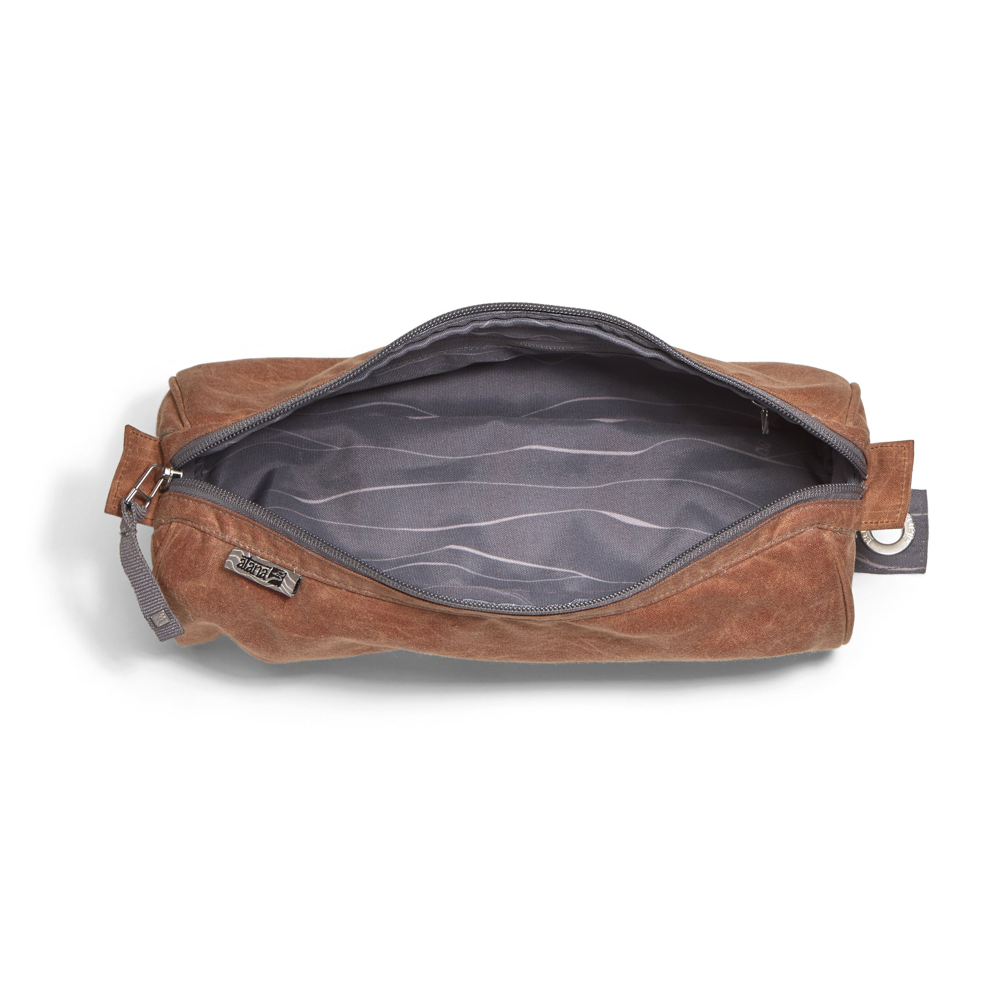 Organic waxed canvas Dopp kit, toiletry, cosmetic bag. Gray topo liner made from recycled polyester - aTana Stowe 12""