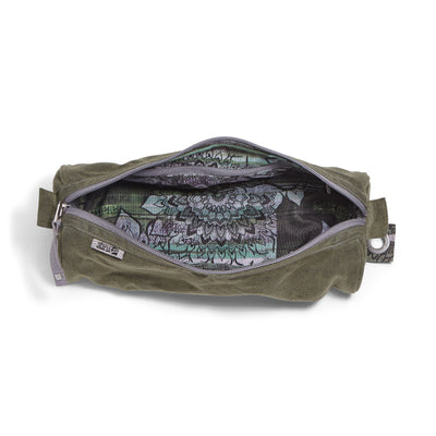 Organic waxed canvas Dopp kit, toiletry, cosmetic bag. Green mandala interior liner made from recycled polyester - aTana Stowe 12""