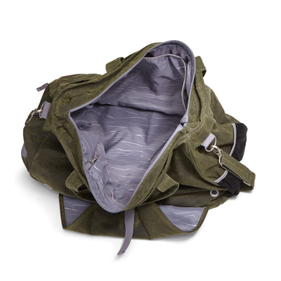 Weekender bag - yoga - gym bag made from olive green organic waxed canvas. Gray topo custom interior liner made from recycled polyester. Yoga mat holder. Wet / dry compartment.
