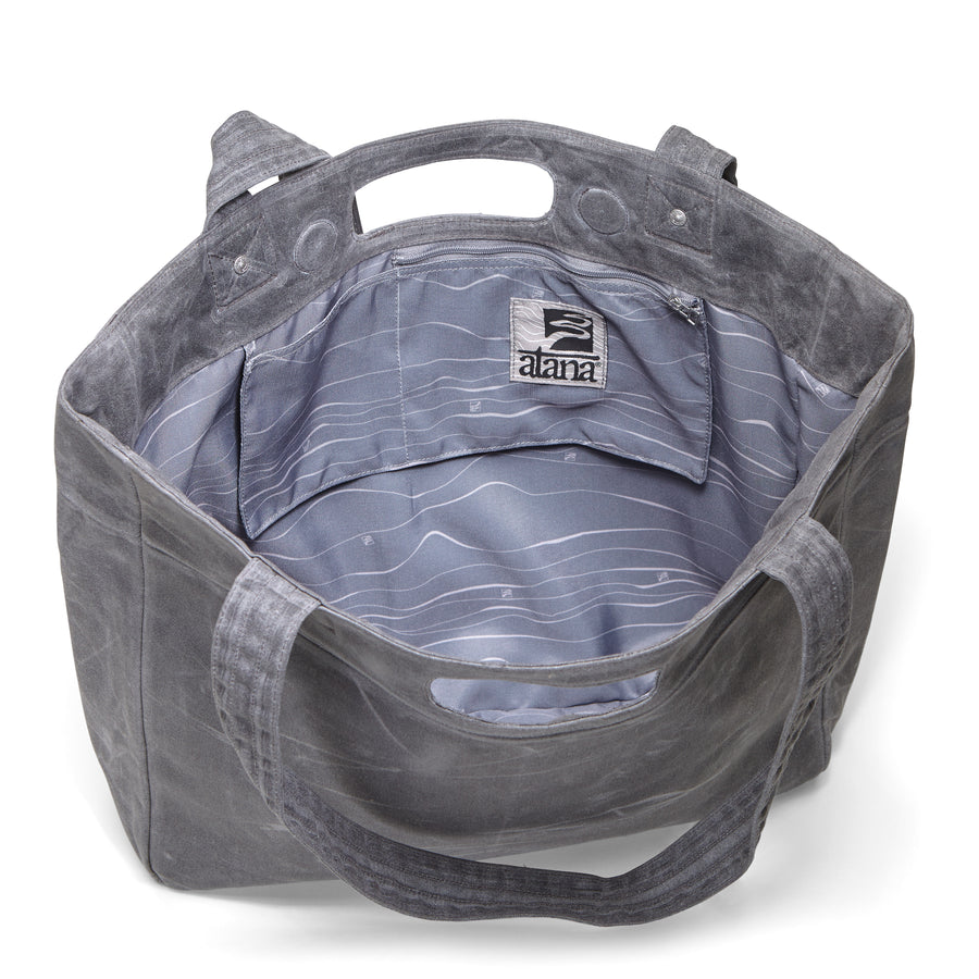 Tasana - Tote Bag (with gray topo interior print)