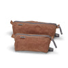 Brown organic waxed canvas Dopp kit, toiletry, cosmetic bag. Gray topo custom interior liner made from recycled polyester - aTana Stowe 9""