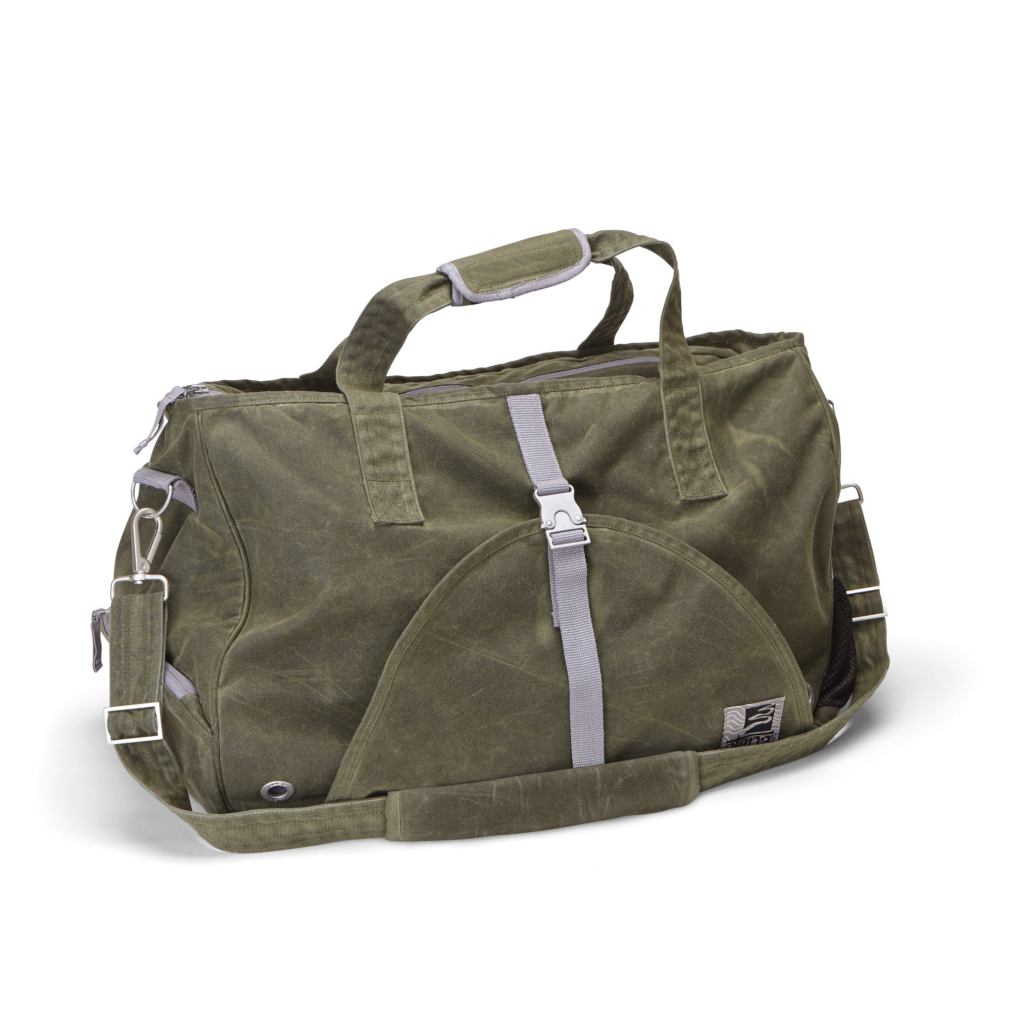 d0b95bbc5531 Weekender bag - yoga - gym bag made from olive green organic waxed canvas.  Gray