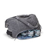 Weekender bag - yoga - gym bag made from gray organic waxed canvas. Blue mandala custom interior liner made from recycled polyester. Yoga mat holder. Wet / dry compartment.