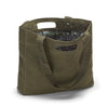 Large tote made from olive green organic waxed canvas. Green mandala custom interior liner made from recycled polyester. Magnet closure.