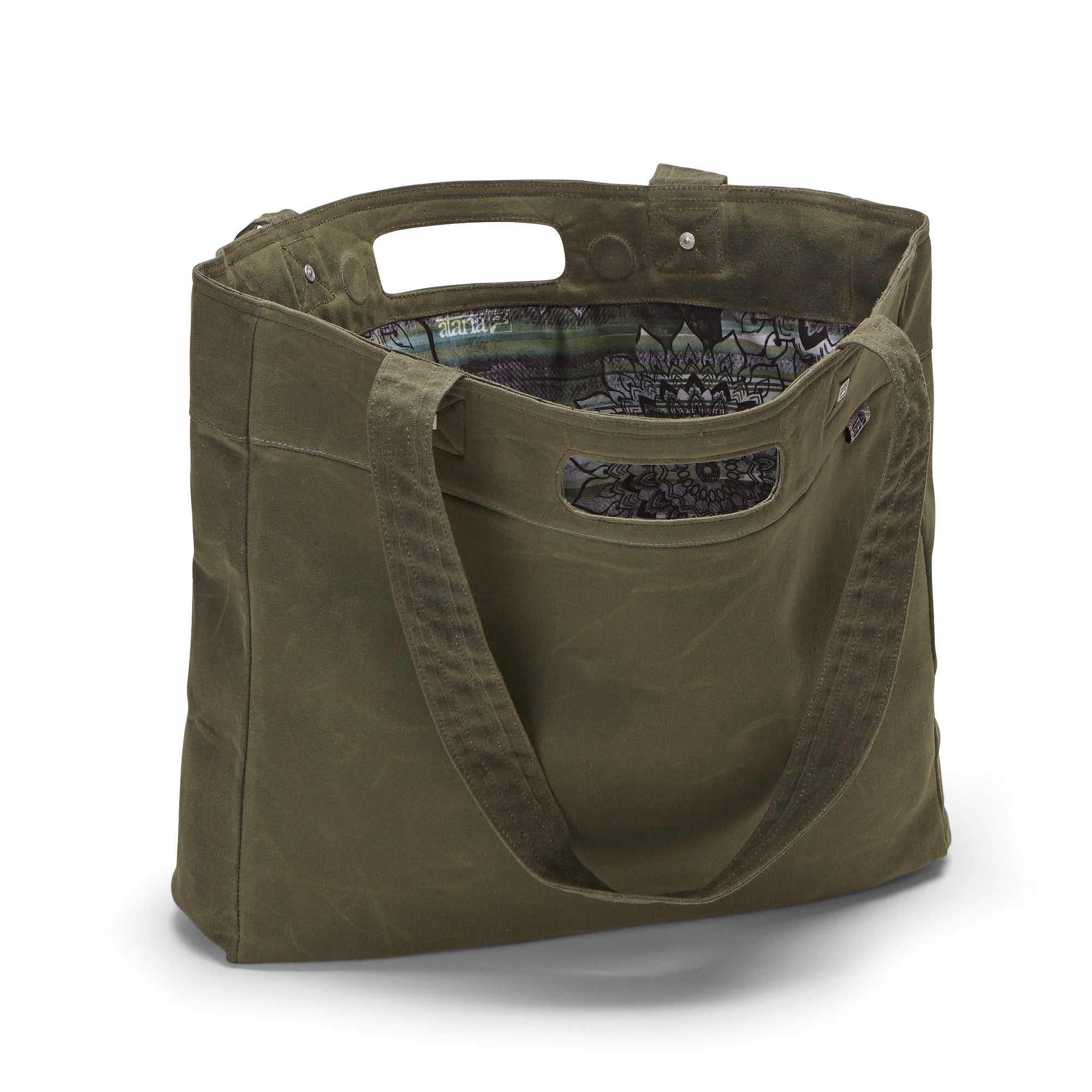 ded03b568d7 Large tote made from olive green organic waxed canvas. Green mandala custom  interior liner made