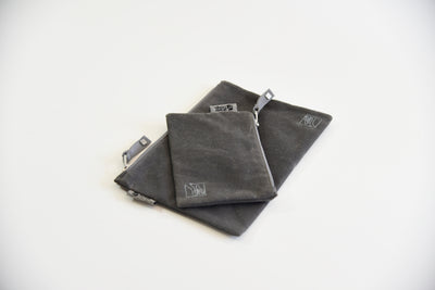 zippered organic pouch in gray