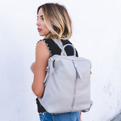 grey backpack with multiple zippers