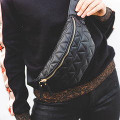 black quilted fanny pack