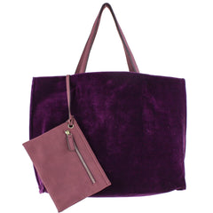 purple velvet reversible tote
