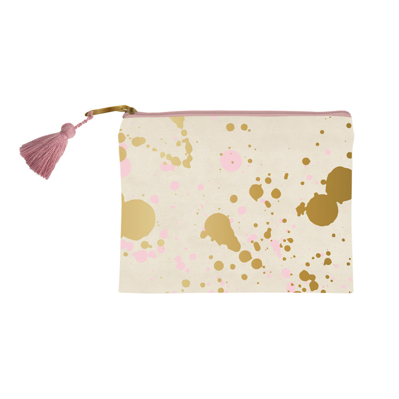 Gold and pink splatter canvas makeup bag from SLANT. Measures H 8 x W 6