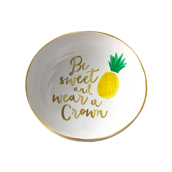 "Be sweet and wear a crown trinket tray with pineapple. Measures 4.5 x 4.5"". Home and gift. Made by SLANT. trinket tray, jewelry organizer"