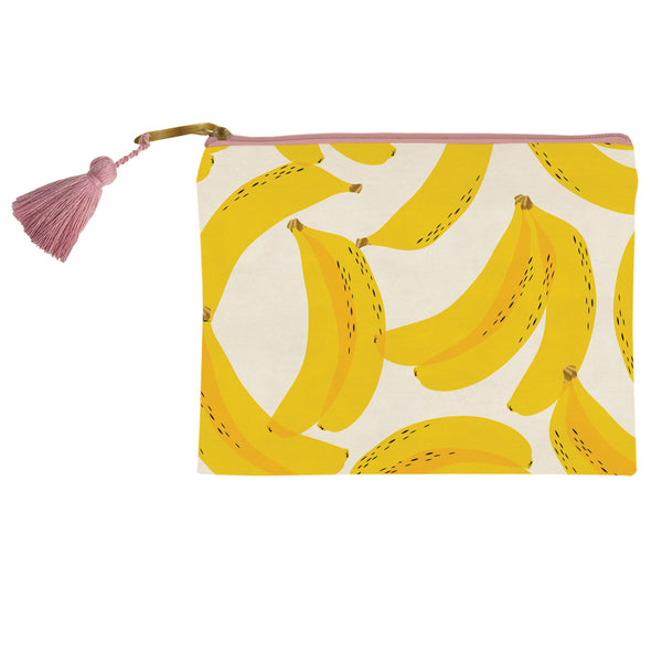 "Yellow banana cosmetic bag from SLANT. Measures H 8"" x W 6"". gift idea, makeup bag, cosmetic bag"