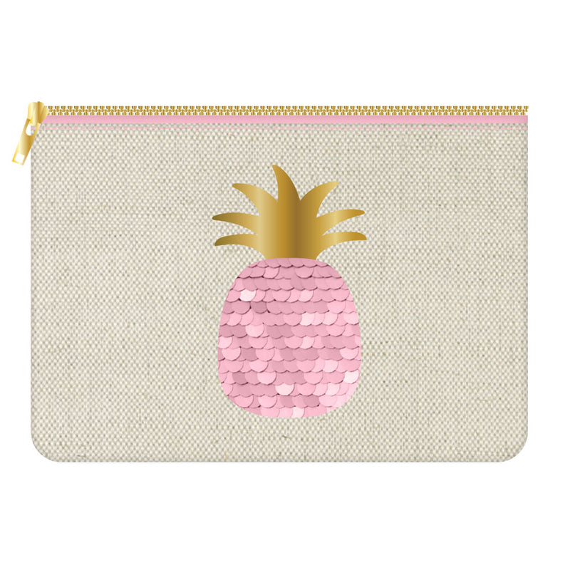 Canvas cosmetic bag with pink sequin pineapple from SLANT collections. Gift guide, perfect gift, pineapples, cosmetic bag, makeup bag. Measures H 7.5