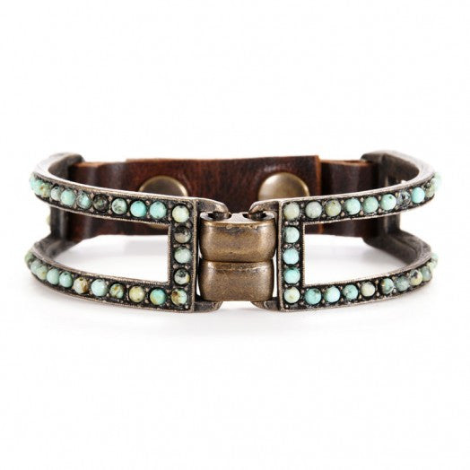 unique 2 bar metal bracelet with semi-precious stones in African turquoise