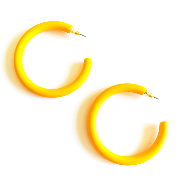 colorful hoop earrings, yellow hoop earrings, light weight earrings, circle earrings, under $20, trendy earrings. Measures 2""