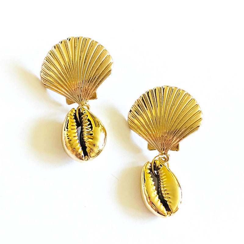 "Post back closure earrings measuring 1.5"" seashell earring, gold shell earring, trendy earrings"