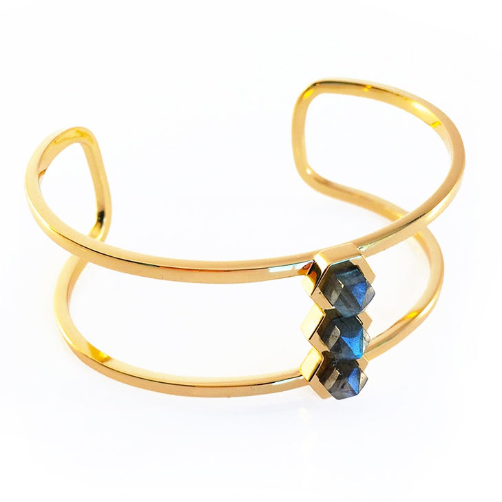 three gorgeous flashy Labradorite gem points adorn this stunning cuff. 14k gold plated brass