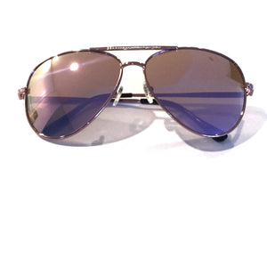 Glossy pink metal frame with rhinestone accent and pink mirror lenses. Perverse
