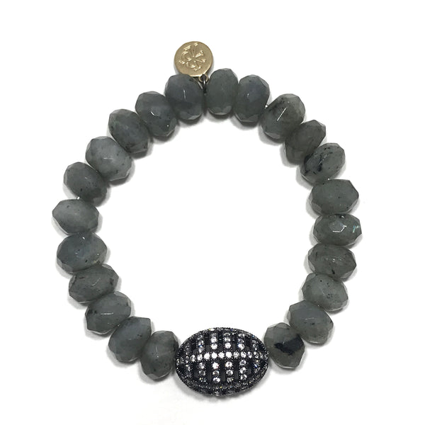 Beautiful medium grey stone bracelet with gunmetal pavé CZ spacer. One size fits most.