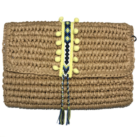 yellow straw clutch